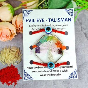 7 Chakra with Evil Eye Band for Energy, Abundance, Wealth, Protection