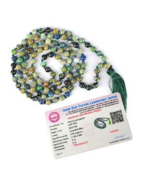 Certified AAA Azurite 6 mm 108 Round Bead Mala with Certificate