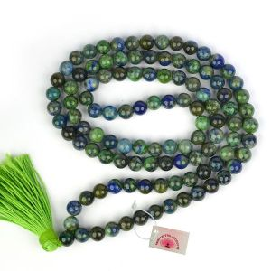 Azurite 6 mm Round Beads Mala & Necklace