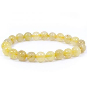 Golden Rutile 8 mm Round Bead Bracelet