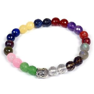 12 Chakra 8mm DC Bracelet Natural Stone with Buddha Head Bracelet Amethyst