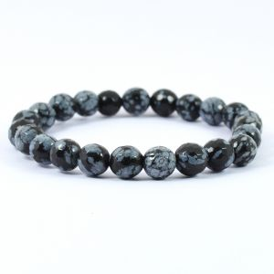 Snowflake Obsidian 8 mm Faceded Bracelet