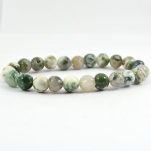 Tree Agate 8 mm Round Bead Bracelet