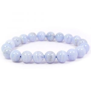 Blue Lace Agate 10 mm Round Bead Bracelet