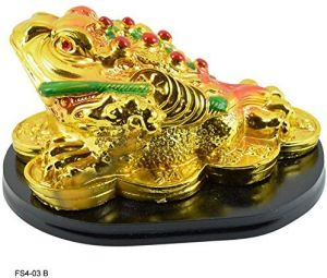 Golden Frog with Coins for Wealth, Luck