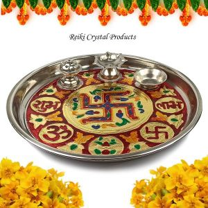 Steel Pooja Aarti Thali  Size - 10 Inch Approx (Color : Multi)