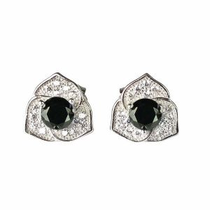 925 Sterling Silver Stud Earring Black Crystal Earrings for Women and Girls