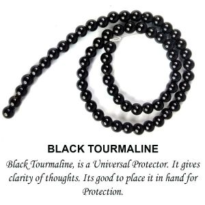 AAA Black Tourmaline 6 mm Round Beads for Jewelery Making Bracelet, Necklace / Mala