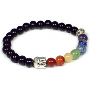 Black Onyx Bracelet 7 Chakra Bracelet Buddha Head Bracelet Combinatin Bracelet 8 mm Round Bead Bracelet for Unisex (Color : Multi)