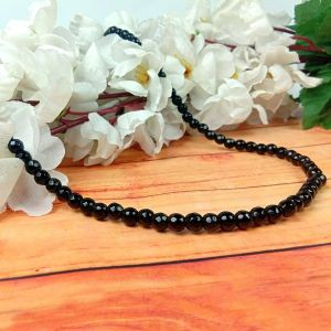 Black Tourmaline 6 mm Diamond Cut Beads Mala & Necklace ( 108 Beads, 26 Inch  Approx)