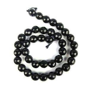 AAA Black Tourmaline 10 mm Faceted Beads for Jewelery Making Bracelet, Necklace / Mala
