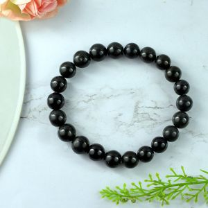 Regular Quality Black Tourmaline 8 mm Round Bead Bracelet