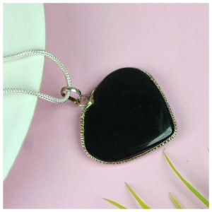 Black Tourmaline Heart Shape Pendant - Size 30-35 mm approx