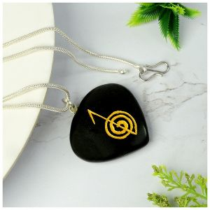 Black Agate Heart shaped cho ku rei Pendant