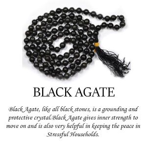 Black Agate 6 mm Round Beads Mala & Necklace ( 108 Beads, 26 Inch  Approx)