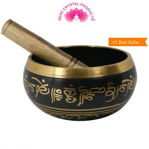 Black Singing Bowl 5 Inch with Wooden Stick