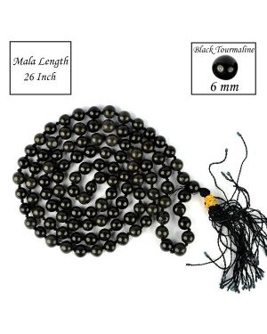 Eye Obsidian 6 mm 108 Round Bead Mala