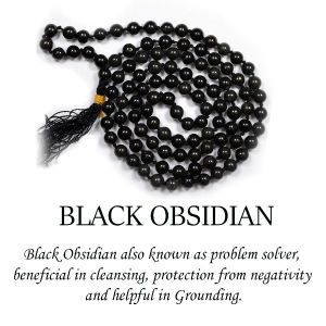 Black Obsidian 6 mm Round Beads Mala & Necklace ( 108 Beads, 26 Inch Approx)