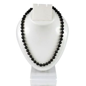 Black Onyx 8 mm Round Bead Mala & Necklace (108 Beads & 32 Inch Approx)