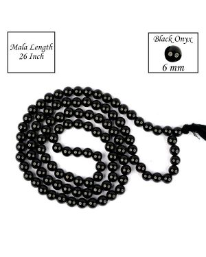 Black Onyx 6 mm 108 Round Bead Mala
