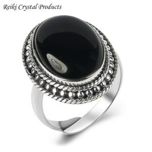 92.5 Silver Ring Black Onyx Gemstone Adjustable Ring for Unisex (Color : Black)