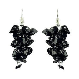 Black Onyx Crystal Earrings Natural Chip Beads Earrings for Women, Girls (Color :Black)