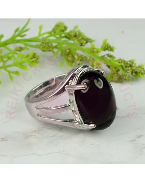 Black Onyx Gemstone German Silver Ring for Unisex (Color : Silver & Black)