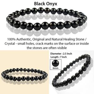 Black Onyx 6 mm Round Bead Bracelet