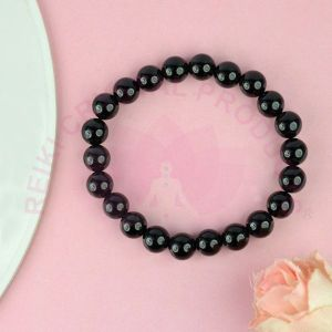 Black Onyx 8 mm Round Bead Bracelet