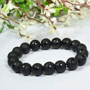 Black Onyx Self 12 mm Round Bead Bracelet