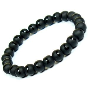 Black Onyx Matt 8 mm Round Bead Bracelet