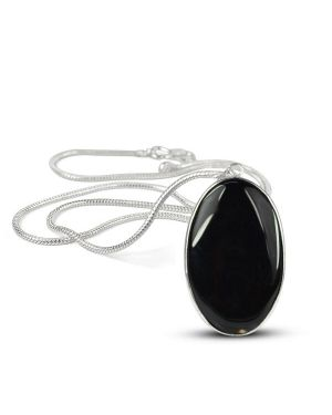 AAA Quality Black Onyx Oval Pendant With Silver Polished Metal Chain