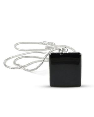 AAA Quality Black Onyx Square Pendant With Silver Polished Metal Chain