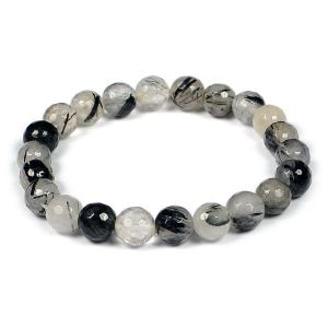 Black Rutile 8 mm Faceted Bracelet