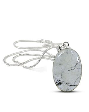 AAA Quality Black Rutile Quartz Oval Pendant With Chain