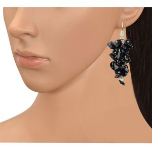 Black Tourmaline  Crystal Earrings Natural Chip Beads Earrings for Women, Girls (Color :Black)