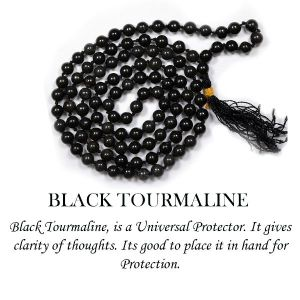 Black Tourmaline 6 mm Round Beads Mala & Necklace ( 108 Beads, 26 Inch  Approx)