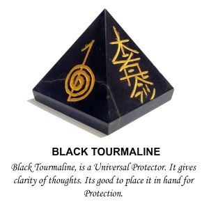 Black Tourmaline Reiki Symbol Engraved Pyramid 50 mm Approx