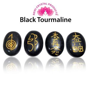 Black Tourmaline Reiki Symbol Set 4 pc