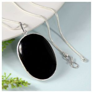 Black Agate Oval Shape Pendant with Chain