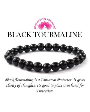 AAA Black Tourmaline 8 mm Round Bead Bracelet