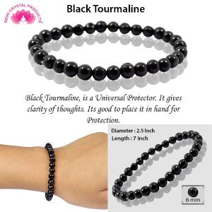 Natural Black Tourmaline 6 mm Round Beads Bracelet