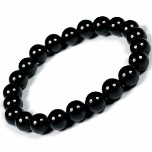 Black Tourmaline 8 mm Crystal Stone Round Beads Bracelet