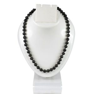 Black Tourmaline 8 mm Round Bead Mala & Necklace (108 Beads & 32 Inch Approx)