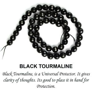 AAA Black Tourmaline 8 mm Faceted Beads for Jewelery Making Bracelet, Necklace / Mala