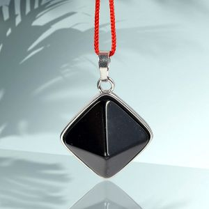 Black Tourmaline Pyramid Shape Pendant with Metal Polished Chain