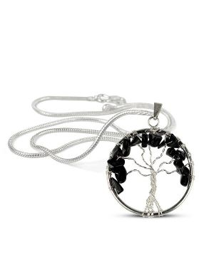 Black Tourmaline Tree of Life Pendant with Silver Polished Metal Chain