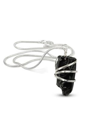 Black Tourmaline Natural Wire Wrapped Pendant with Silver Metal Polished Chain