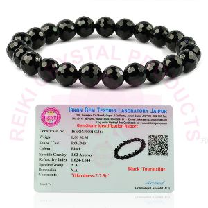 Certificate AAA Black Tourmaline 8 mm Faceted Bracelet