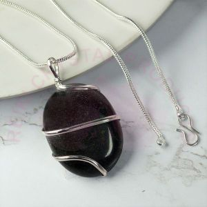 Black Tourmaline Oval Wire Wrapped Pendant with Silver Polished Chain